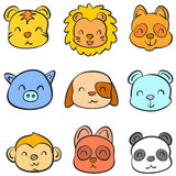Doodle of animal head cute funny collection Stock Photo