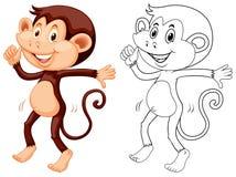 Doodle animal for monkey dancing Stock Image