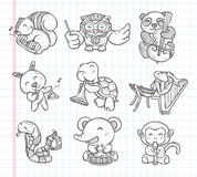 Doodle animal music band icons Stock Image