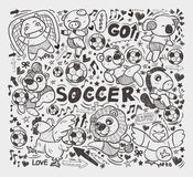 Doodle animal soccer player element Royalty Free Stock Image