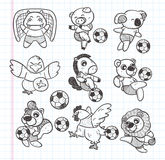 Doodle animal soccer player element Stock Photos