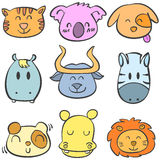 Doodle of animal style cute collection Royalty Free Stock Photography