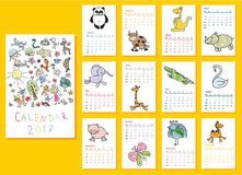 Doodle animals calendar 2017. Calendar 2017. Cute doodle animals for every month. Vector. Isolated Stock Image