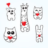 Doodle animals with hearts. Set doodle animals with hearts. Valentines Day Vector Illustration