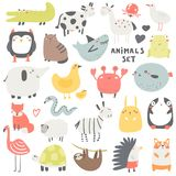 Doodle animals set including owl, crocodile, cow, cat, shark, horse, jelly fish, frog, seagull, elephant, chicken. Crab fish fox snake zebra rabbit penguin stock photography
