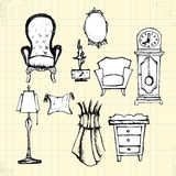 Doodle Antique Furniture on Paper Royalty Free Stock Photos