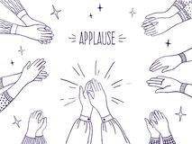 Doodle applause. Happy people hands, high five illustration, sketch draw of clapping hands. Vector agreement and success