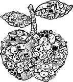 Doodle apple cartoon-hand drawn Royalty Free Stock Images
