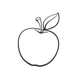 Doodle apple with stem. Vector illustration. Hand drawn doodle of apple with stem and leaf. Healthy vegetarian food. Cartoon sketch. Decoration for greeting Royalty Free Stock Photos