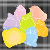 Doodle apples on textile background. Royalty Free Stock Photos