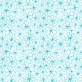 Doodle aquamarine flowers on transparent. Background. Vector seamless pattern Royalty Free Stock Images