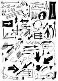 Doodle arrow collection isolated on white Stock Photos