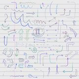 Doodle arrow on lined sheet Royalty Free Stock Image