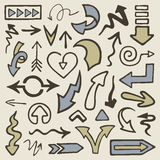 Doodle arrows. Set of hand drawn arrows Stock Photo