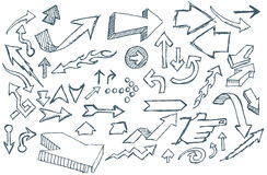 Doodle Arrows. A selection of assorted hand sketched arrows Stock Photo