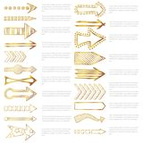 Doodle arrows collection. Template from Hand drawn sketched gold Arrows in different shapes. Doodle golden arrows list with text. Vector illustration Royalty Free Stock Images