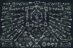 Doodle,arrows,decor element.Love set.Chalkboard Stock Photography