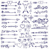 Doodle arrows,decor element,snowflakes.Winter love Stock Photography