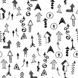 Doodle Arrows Seamless Pattern. Vector Background. Concept of Ra Stock Photos