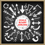 Doodle arrows set. On chalk board. Realistic blackboard background. Vector Illustration Royalty Free Stock Photo