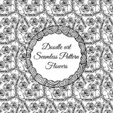 Doodle art. Abstract seamless pattern with flowers. Vector illustration. Coloring books. Black white. Floral motive. Stock Photography