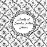 Doodle art. Abstract seamless pattern with flowers. Vector illustration. Coloring books. Black white. Floral motive. Royalty Free Stock Photography