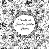Doodle art. Abstract seamless pattern with flowers. Vector illustration. Coloring books. Black white. Floral motive. Stock Photo