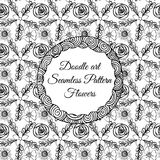 Doodle art. Abstract seamless pattern with flowers. Vector illustration. Coloring books. Black white. Floral motive. Stock Images