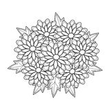 Doodle art flowers Chrysanthemum. Zentangle floral pattern. Royalty Free Stock Image