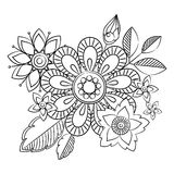Doodle art flowers. Hand drawn herbal design elements Stock Photos