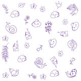 Doodle art. home, snail, and leaves. Doodle art. home and snail for kids Stock Photo