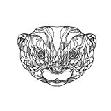 Oriental Small-clawed Otter Doodle Art. Doodle art illustration of head of oriental small-clawed otter, Asian small-clawed otter or small-clawed otter, a Royalty Free Stock Photography