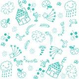Doodle art for kids green Stock Photos