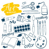 Doodle art materials collection. Hand drawn art icons set. Vector Illustration. Stock Image