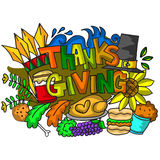 Doodle art of thanksgiving elements Royalty Free Stock Image