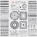 Doodle artistic pattern brushes,wreath,frame.Black Stock Photo
