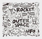 Doodle astronautyczny element Zdjęcia Royalty Free