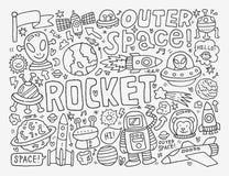 Doodle astronautyczny element Obrazy Stock