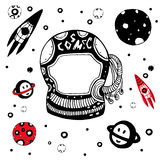 Doodle astronomical objects set. Hand drawn cosmic vector illustration. Stock Image