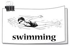 Doodle athlete swimming underwater. Illustration stock illustration