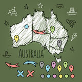 Doodle Australia map on green chalkboard with pins Royalty Free Stock Images