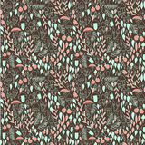 Doodle autumn forest seamless pattern. Mushrooms, berries and leaves. Vector illustration vector illustration