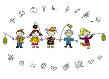 Doodle Autumn Kids and Leaves Royalty Free Stock Photography
