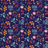 Doodle autumn pattern. Seamless vector doodle hand drawn pattern with flowers, brunches, leaves for wallpapers, scrapbooking, web page backgrounds, textile Stock Images