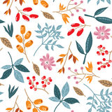 Doodle autumn pattern. Seamless vector doodle hand drawn pattern with flowers, brunches, leaves for wallpapers, scrapbooking, web page backgrounds, textile Stock Image