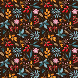 Doodle autumn pattern. Seamless vector doodle hand drawn pattern with flowers, brunches, leaves for wallpapers, scrapbooking, web page backgrounds, textile Royalty Free Stock Image