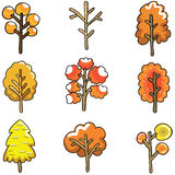 Doodle of autumn tree set Royalty Free Stock Images
