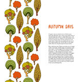 Doodle autumn trees border. Hand drawn template. Banner or poster, brochure, design decoration Royalty Free Stock Photos