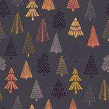 Doodle autumn trees seamless vector background. Modern holiday pattern for Thanksgiving, Christmas. Perfect for holiday cards, wrapping paper, invitations, and stock illustration