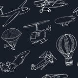 Doodle aviation seamless pattern Vintage illustration for identity, design Royalty Free Stock Photos